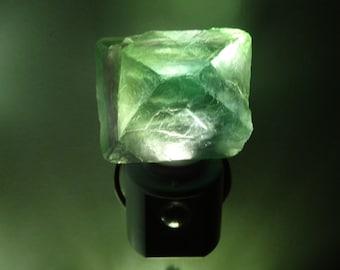 Automatic Sensor Green Flourite Octahedron LED Gemstone Night Light//Geode//Crystals// Nite Light