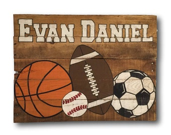 Personalized Name Sign- Vintage Sports Sign- Pallet Sports Decor- Boys Room Decor- Boys Name Sign- Football- Baseball- Basketball- Soccer