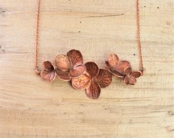 Electroformed Real Hydrangea Flower Bar Necklace N22