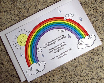 rainbow sun clouds raindrops birthday party invitations fully custom with envelopes - set of 10