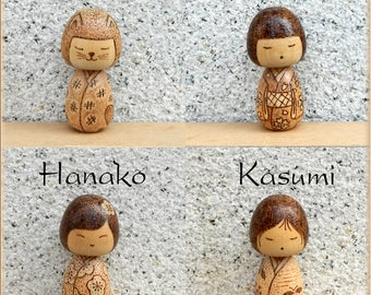 Kokeshi wooden doll wood burned kokeshi doll pyrography unique kokeshi peg doll small cute gift for girl handmade gifts for her