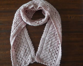 Pink Crochet Scarf, Spring, Gift for her, Accessories