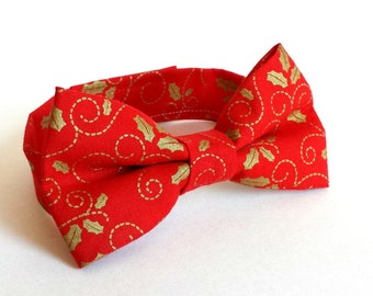 LIittle Boys Christmas Bow Tie  - Red with Metallic Gold Holly - Metallic Gold Bow Tie - Adjustable Bow Tie - Size Infant, Toddler or Youth