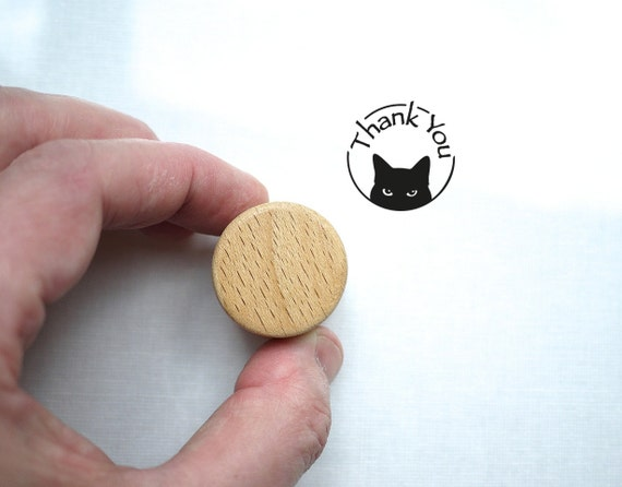 Thank You Rubber Cat Stamp with Wooden Handle
