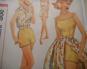 Vintage 1950's Simplicity 2527 Playsuit, Skirt and Jacket Sewing Pattern Size 18 Bust 38