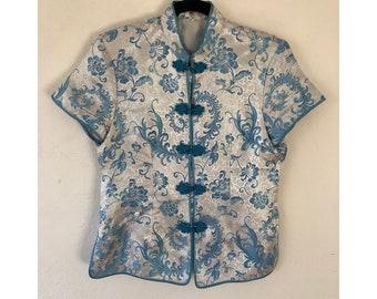 Cheongsam Blouse/ Vintage Qipao/ Vintage Silver and Blue Silk Blouse/ Mandarin Collar Blouse