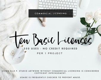 TEN Basic Commercial Use License for 10 Listing of Art - Up to 350 Copies EACH -Per 1 Project - No Credit Needed