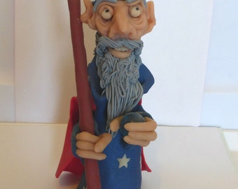 Whimsical Wise Wizard handmade polymer clay fantasy sculpture