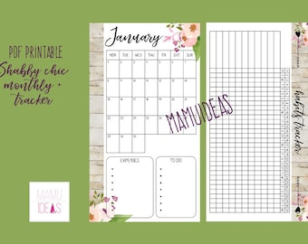 Monthly refill 2018 + habits tracker SHABBY CHIC - personal size -dated - english language - printable pdf-for filofax, kikkik, websters etc