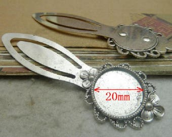 set of 5 bookmarks silver 20 mm cabochon