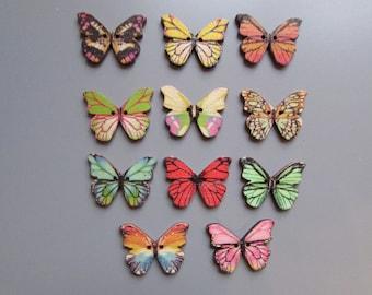 Butterfly wooden  Buttons X 4