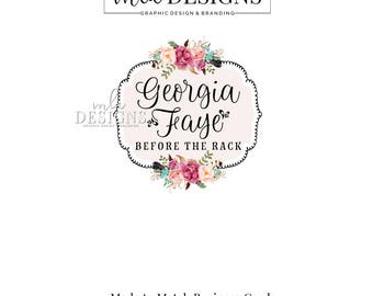 RESERVED ~ Flower Logo, Cottage Logo, Feather and Floral Logo, Premade Logo, Custom Logo Design, Bohemian Logo, Round Logo, Watercolor Logo