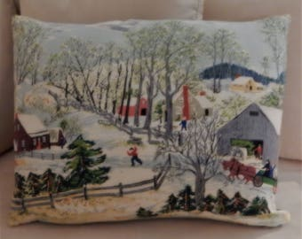 "Grandma Moses Barkcloth Pillow ""Early Springtime on the Farm"" Vintage Country Pillow Shaby Ch 20"" X 16"""