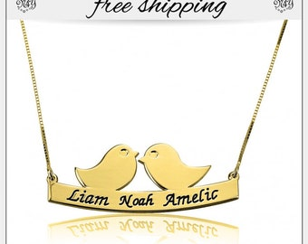Family Necklace for Mom, Engraved Kids names, Gold Plating Family Bird Gift, Mother's Day, Gift for Her, Gifts for Mom