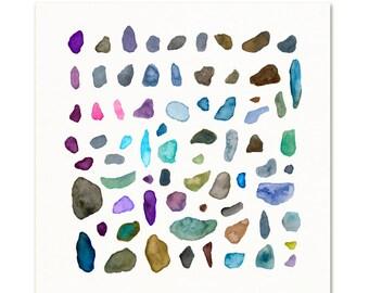 Blue Watercolor Stones Art Print. Watercolor Beach Pebbles. Beach House Decor. Abstract Blue Rocks. Coastal Decor. Beach Cottage Wall Art.