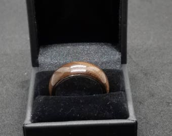 Figured Walnut Wooden Ring Size 9