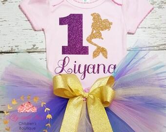 Mermaid birthday tutu set, mermaid girl tutu, Mermaid birthday outfit, Mermaid first birthday, mermaid smash cake outfit