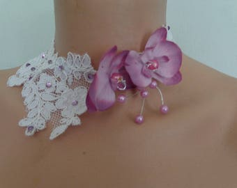 lace Choker necklace white Orchid purple rhinestone piece unique! wedding