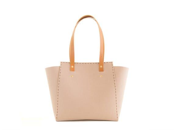 Wool Felt TOTE BAG / beige felt tote bag / womens bag / felt shoulder bag / carry all bag / made in Italy