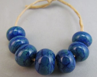 Green and Blue Handmade Lampwork Beads, made in USA, Harleypaws Designs SRA