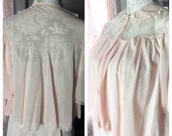 Vintage Pink Nylon and Lace Bed Jacket, Size M, 1950s