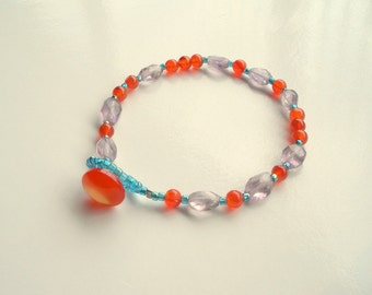 Purple and Orange Bracelet, Amethyst and Carnelian, Gemstone Nugget Bracelet, Amethyst Jewelry, Colorful Bracelet, Gemstone Bracelet