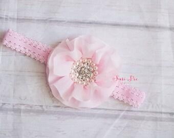 Baby Headband, Toddler Headband, Pink Headband, Flower Headband, Infant Headband, Baby Bows, Baby Girl Headband, Newborn Headband