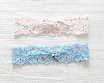 Lace garter, wedding garter, bridal garter, blue garter, pink garter - style #524