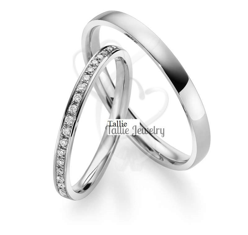 genuine bands item h lovers heart engagement and white style jewelry from rings wedding ring in women couple set band gold for vs his diamond pure men hers