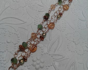 Rose gold green and peach bracelet