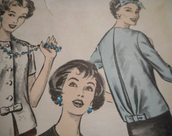 Vintage 1950's Advance 8785 Overblouse Sewing Pattern Size 14 Bust 34