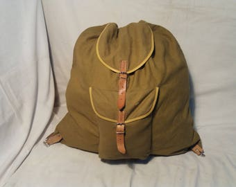 Vintage 1980's Green Canvas Tourist Backpack