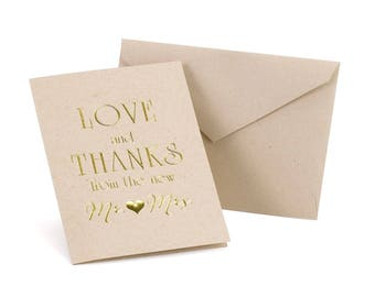 Love & Thanks - Thank You Card for Weddings, Anniversaries, Bridal Shower etc