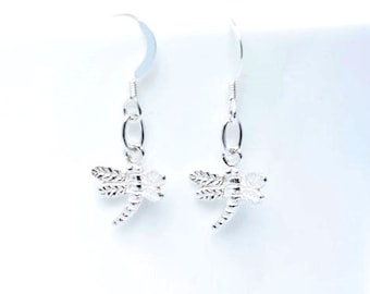 Dragonfly earrings - sterling silver dragonfly earrings - dragonfly Jewellery - sterling silver earrings