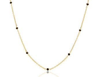 Delicate Gold and Black Spinel Chain Necklace - 24in. Necklace - 14k Gold Filled - Small Faceted Black Spinel Gemstones - Gold Chain