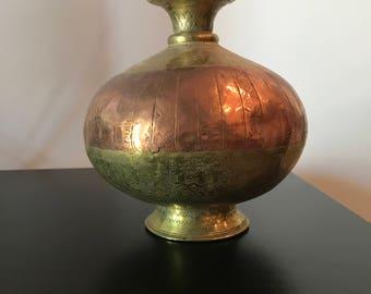Vintage Indian Brass Copper Vase