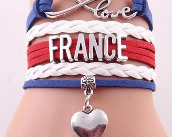 Love France Adjustable Wrap Bracelet