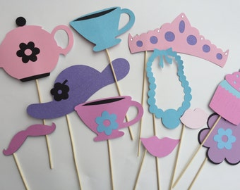 TEA PARTY THEME  photo booth props with ladies hat and tea cups