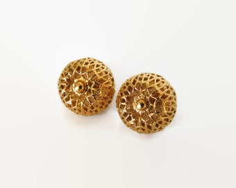 """Vintage Monet Dome Earrings, Clip Ons, Gold Tone Filigree, Signed, Very Good Condition, 0.5"""" Diameter, Classic Jewelry, Gift for Mom"""