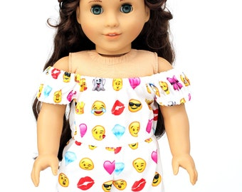 Fits like American Girl Doll Clothes - Emoji Off the Shoulder Romper   18 Inch Doll Clothes