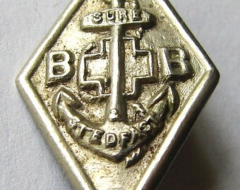 BOYS BRIGADE PIN Vintage Boys Brigade Anchor Sure & Stedfast Service Pin Badge