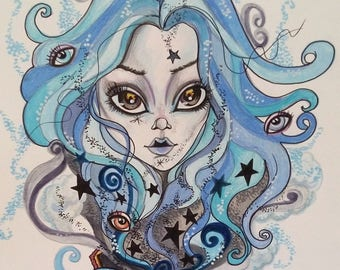 Pandora's Box Big Eye Fantasy Pop SurrealismArt Print by Leslie Mehl Art