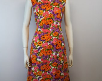 Vintage 1970's CHANNEL 1 Bill Sims DayGlo Floral Sleeveless Wiggle Sheath Dress L Large