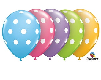 "Assorted Pastel Latex Balloons  with White Dots made by Qualatex 11""  (10)"