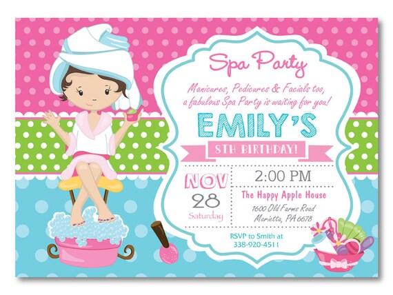 Spa party invitation spa birthday party invitation pajama like this item stopboris Image collections