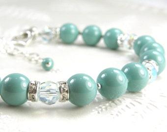 Mint Green Wedding Jewelry, Green Pearl Bracelet Bridesmaids Gift, Bridal Jewelry Mint Bracelets, Seafoam Swarovski Crystal, Sterling Silver