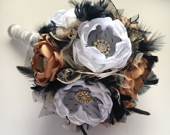 Fabric Flower and Feather Bouquet - Shown in Medium Size - Mustard, Pure White, Black and Gold, Wedding Bouquet, Bridal Bouquet, Wedding