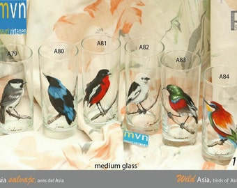 Wild Asia, birds of Asia, hand painted glassware, set of artistic glasses