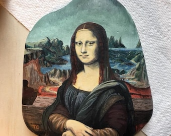 Mona Lisa rock painting