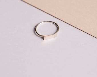 rectangle - fine silver ring with rectangular shaped plate